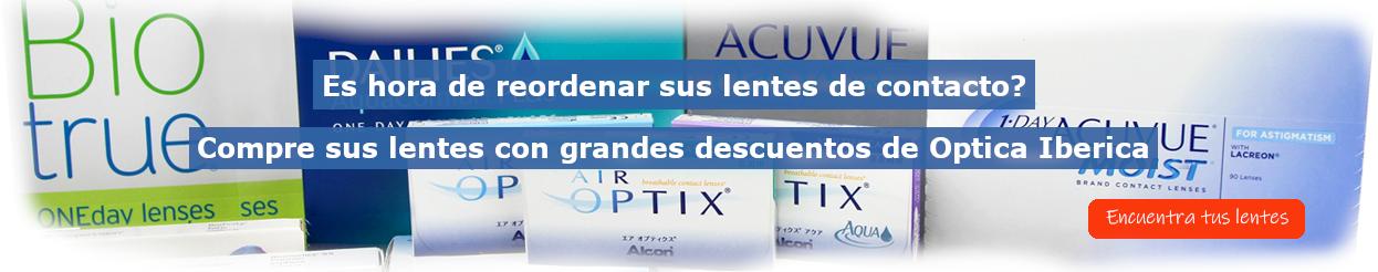 Compre sus lentes de contacto en línea con grandes descuentos de Optica Iberica